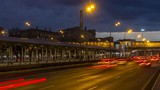 Urban traffic in dusk  with clouds on background time lapse