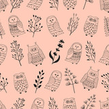 Cute doodle owls and branches seamless pattern. Vector background.