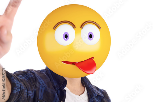 Emoji head man taking selfie. Poster