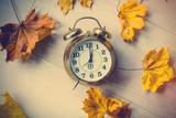 Fototapety Vintage alarm clock with leaves