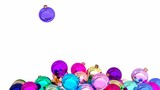 Colorful Christmas balls are filling the screen 3D animation with alpha matte