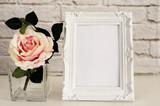 Fototapety Frame Mockup. White Frame Mock Up, Digital MockUp, Display Mockup, Styled Stock Photography Mockup, Colorful Desktop Mock Up. Floral, vase, flower rose