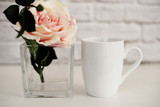 Mug Mockup. Coffee Cup Template. Coffee Mug Printing Design Template. White Mug Mockup. Blank Mug. Mockup Styled Stock Product Image. Styled Stock Photography White Coffee Cup and Rose Flower - 124889018