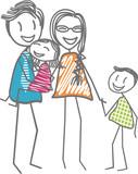 Une famille heureuse avec les parents et les enfants unis et souriants