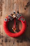red christmas wreath handmade diy decoration