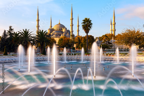 Illuminated Sultan Ahmed Mosque (Blue Mosque), Istanbul, Turkey. Poster