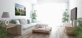 Salotto con divano e parquet render 3d luminoso e ampio - 124906286