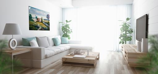 Salotto con divano e parquet render 3d luminoso e ampio