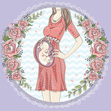 Pregnant woman with cute baby and flower frame. - 124908469