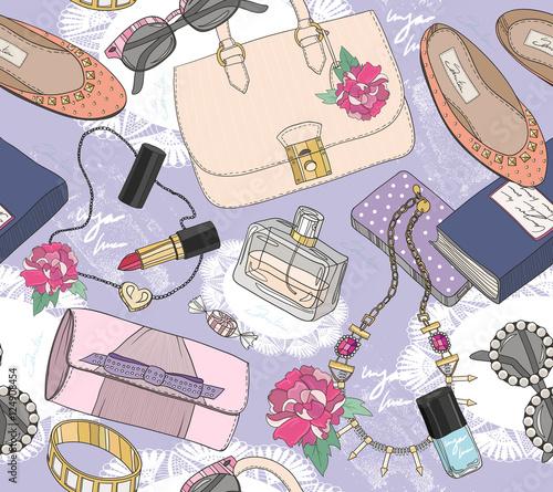 Materiał do szycia Cute seamless fashion pattern for girls or woman