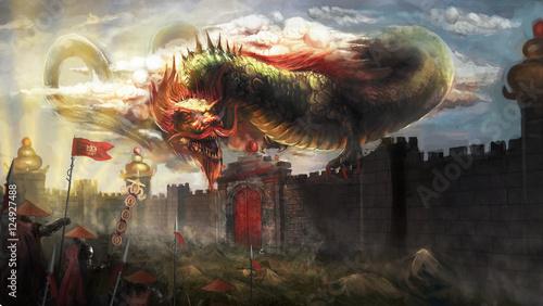 Foto op Plexiglas Draken Chinese dragon attacking the city