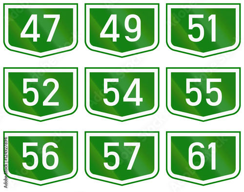 Poster Montage of route shields of numbered main roads in Hungary