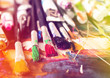 Artist paint brush on painting background - 124942236