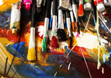 Artist paint brush on painting background