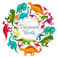 Dinosaurs world vector cartoon poster