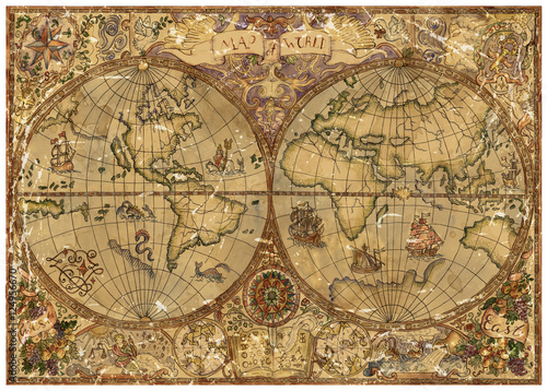 Fototapety, obrazy : Vintage illustration with world atlas map on old textured parchment