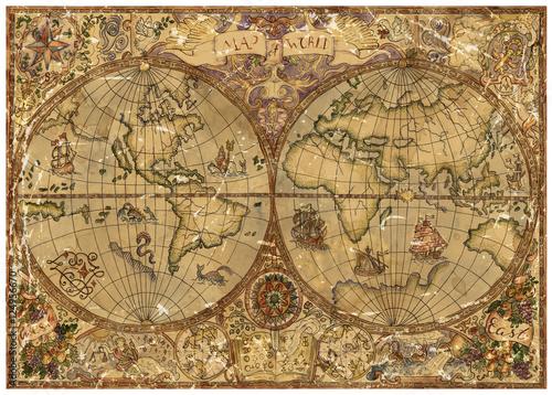 Zdjęcia na płótnie, fototapety na wymiar, obrazy na ścianę : Vintage illustration with world atlas map on old textured parchment