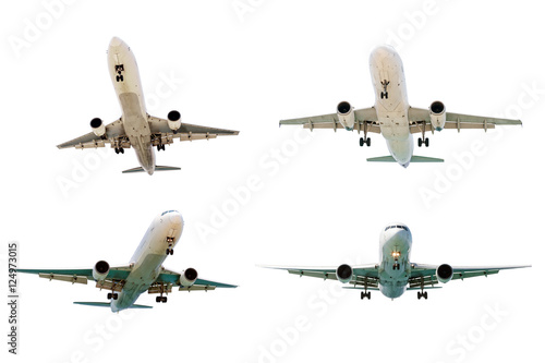 Set of airplanes isolated on white background. Poster