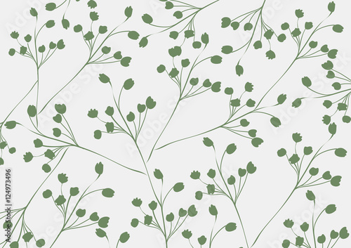 Abstract flora pattern design background   decoration retro style   nature branch textured - 124973496