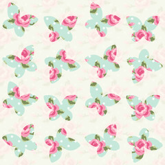 Cute primitive retro seamless pattern with butterflies and polka dots