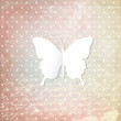 White paper butterfly on historical background.