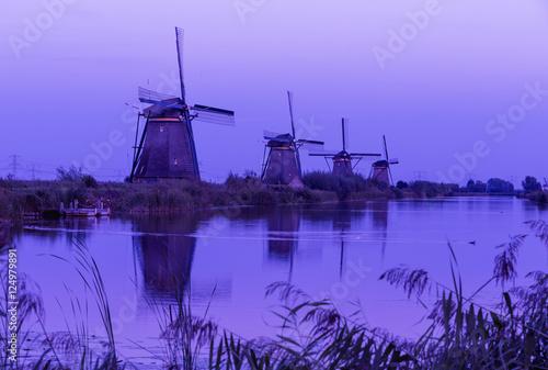 Foto op Plexiglas Rotterdam Colorful autumn scene in the famous Kinderdijk canals with windm