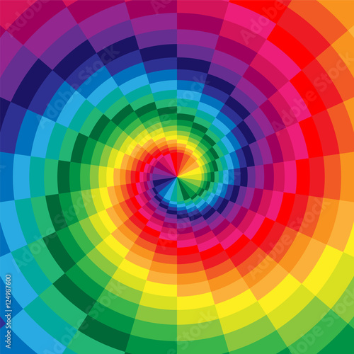 Vector Illustration. Rainbow Colored Spirals of the Rectangles Radial Expanding from the Center. Optical Illusion of  Depth and Volume. Suitable for Web Design. © nofretka