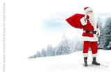 Fototapety Santa claus on snow and landscape of winter forest. White space around the image for easy framing to website popular resolution.