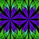 Symmetrical pattern in stained-glass window style. Blue, purple