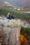 Autumn forest / Amazing view with a woman enjoying the autumn forest in Rhodope Mountains, Bulgaria