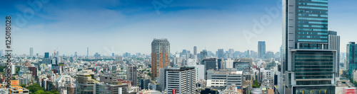 Aerial panoramic view of Tokyo buildings from Shibuya rooftop