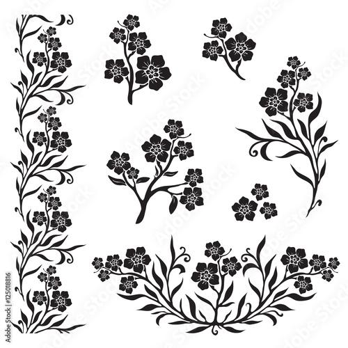 Forget-me-not (myosotis) graphic flowers