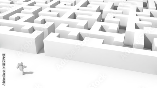 cubic character going to labyrinth. 3d illustration.