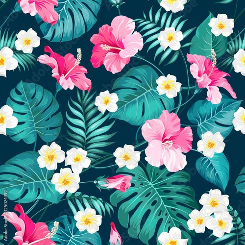 Cotton fabric Tropical plumeria and green palm leaves. Dark fabric swatch with pradise flowers isolated over blue background. Seamless fabric texture. Vector illustration.