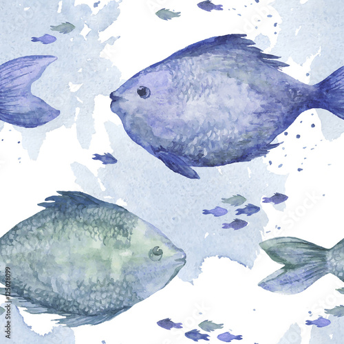 Blue watercolor fish seamless pattern. Watercolor hand-drawn wallpaper. Vector illustration - 125028099