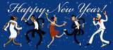 Funny cartoon people dancing the Charleston, celebrating New Year at a Gatsby style party, EPS 8 vector illustration