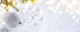 art Christmas decoration and holidays light on snow Background - 125028687