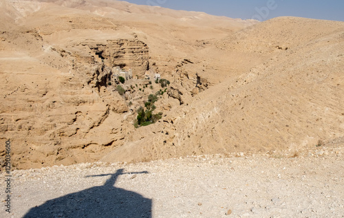 View of St George Orthodox Monastery, located in Wadi Qelt, Isra Poster