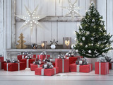 Fototapety beautiful gift with Christmas ornaments. 3d rendering