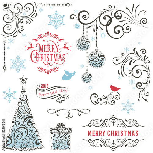 Ornate winter holiday collection with swirls, typographic labels, gift box, Christmas tree and ornaments.