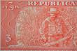 Постер, плакат: macro image of Ernesto Che Guevara in the Cuban banknote