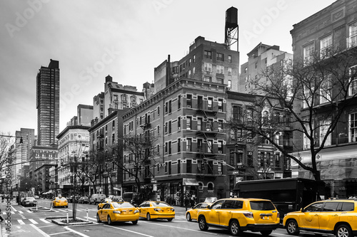 Fototapeta Yellow cabs at Upper West Site of Manhattan, New York City