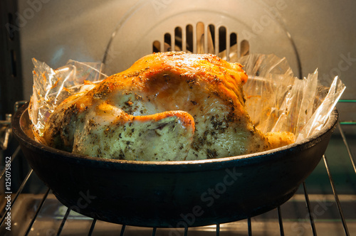 Appetizing roast turkey in the oven Poster