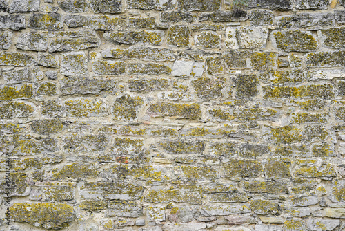 Fotobehang Stenen Part of a stone wall for background or texture.Old stone wall texture. Beautiful grey stone wall background with bright green wild grass. Stone wall background for banners, flyers and design