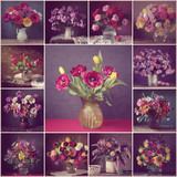 Collage from still lifes with bouquets. Vintage filter.