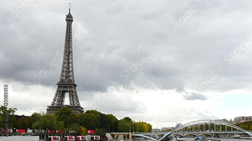 Time Lapse of the Eiffel Tower & Bridge Daytime-  Paris France