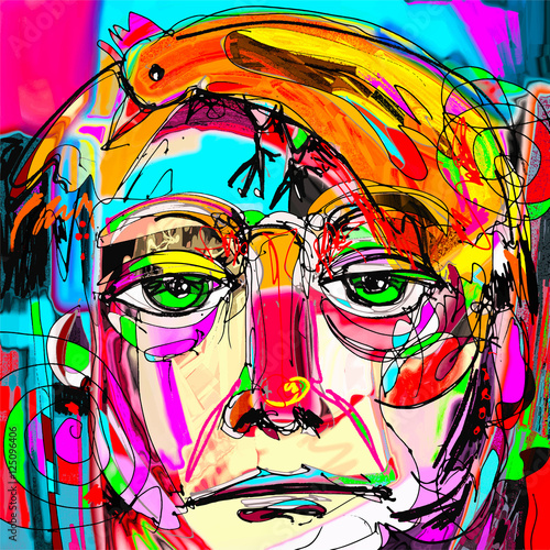 Fototapeta contemporary digital painting portrait of the man face with oran