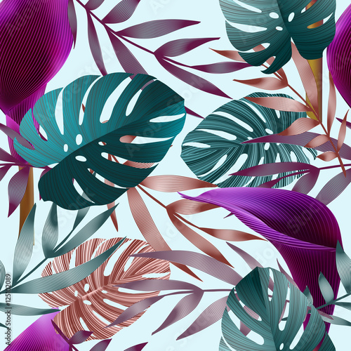 Tropical flowers, jungle leaves, bird of paradise flower. - 125102089