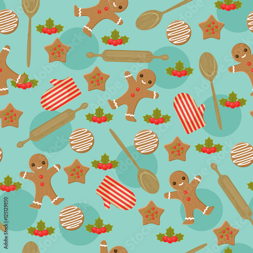 Materiał do szycia Christmas baking seamless wallpaper