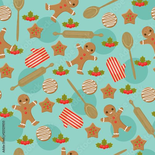 Cotton fabric Christmas baking seamless wallpaper